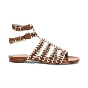 Schutz Leather Woven Ankle Strap Sandals